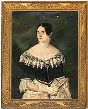 Antoni Esplugas i Gual Vilanova i La Geltrú, active in Barcelona during the mid 19th Century Portrait of a young woman with a fan
