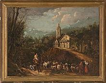 19th Century Seville school Circle of Andres Cortes y Aguilar  Rural view