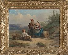 Robert Favelle Probably active in France during the 19th Century Children with a bird nest