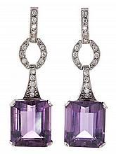 Pendientes largos de amatistas y diamantes, de mediados del siglo XX