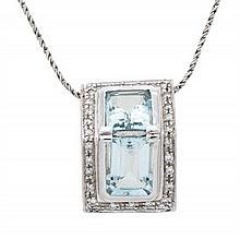 Colgante de aguamarinas y diamantes