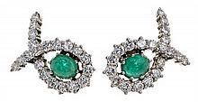Pendientes de esmeraldas y diamantes