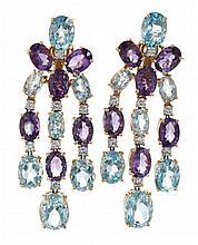 Pendientes largos italianos de amatistas, topacios y diamantes
