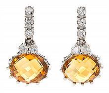 Pendientes de citrinos y diamantes