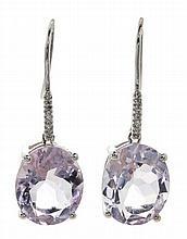 Pendientes de amatistas y diamantes