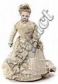 Muñeca francesa autómata andadora con cabeza, busto y brazos en porcelana, hacia 1870-1880