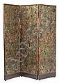 Biombo de tres hojas en cordobán de estilo barroco de finales del siglo XIX