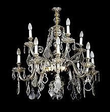 A carved crystal ceiling lamp, circa 1930 12 lights