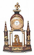 Austrian Empire table clock in ebonized wood, first third of the 19th Century With two automata that strike the bells. Paris movement