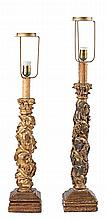 18th Century Spanish school Two Solomon columns Carved, gold-plated and polychromed wood