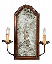 Pair of Venetian engraved mirrors with pine frames, second half of the 18th century.