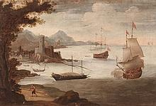 17th Century Italian school Sea battle Oil on canvas