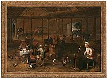 17th century Dutch school. David Rijckaert III circle Interior Oil on canvas