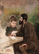 Antoni Casanova Estorach, Tortosa 1847-Paris 1896 , Couple, Oil on canvas stuck to panel, With the stamp of the sale made at Drouot on