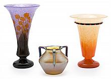 Two French vases and one Austrian vase in polychrome mottled glass Art Déco, circa 1920-1925 The French vases probably by Schneider 29