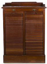 English mahogany double-shutter filing cabinet, circa 1920 With label of commercial distribution in Barcelona