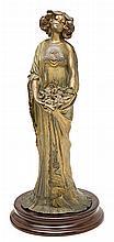 Lucien Charles Édouard Alliot París 1877- Nanteuil-lès-Meaux 1967 Ninfa con flores Escultura en calamina patinada en bronce