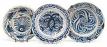 Three Talavera ceramic plates, late 17th Century and 18th Century Two of them are from the series