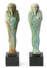 Egyptian school, circa the 4th Century B.C. Ushabti Two green faience figures