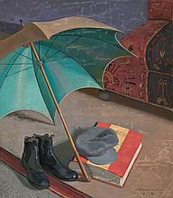 Ricardo Bernardo Solares 1897 - Marseille 1940 Still-life with Umbrella Oil on canvas Signed and dated in 1929 112.5x98.3 cm