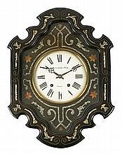 Reloj isabelino-alfonsino de pared tipo Morez en madera ebonizada, nácar y marquetería, de la segunda mitad del siglo XIX