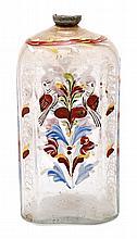 Frasco en vidrio esmaltado de Bohemia, del siglo XVIII