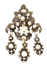 A pearl baroque style pendant
