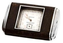 Hermès, Otomato, travel clock in silver and leather, circa 1930