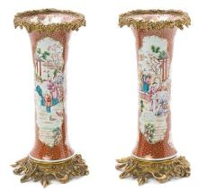 Pair of Mandarin Chinese porcelain vases, French gilt-bronze mounted, late 19th Century
