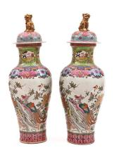 Pair of Chinese Famille Rose porcelain lidded jars, 19th Century