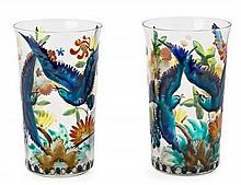 Josep Maria Gol i Creus Barcelona, 1897 - 1980 Pair of tall glasses with flowers and birds