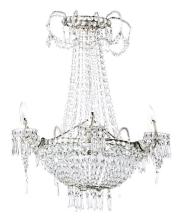 Charles IV chandelier with strings of cut-crystal beads, early 19th Century