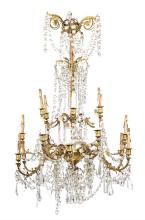 French Napoleon III-style chandelier in gilt bronze with strings of cut-crystal beads and teardrops, last quarter of the 19th Century