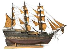 Large model galleon in wood, first quarter of the 20th Century