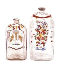 Two bottles in Bohemian enamelled glass, late 18th Century