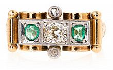 Emerald and diamond chevalière ring, circa 1940 Gold with platinum decoration, emeralds, round cut, 0.24 cts, and diamonds, old brillia