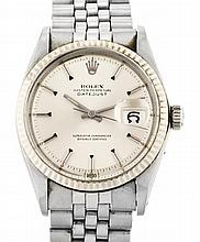 Rolex, Datejust, gentleman's steel wristwatch Automatic movement, reference 1601, calibre 1570 and calendar. Jubilée steel band. 36 mm