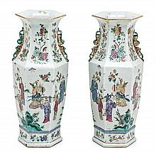 Pair of Chinese Canton porcelain vases, late 19th Century Slight chipping  44.2 cm high