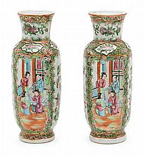Pair of Chinese Canton porcelain vases, late 19th Century 25x10 cm