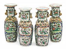 Two pairs of Chinese Canton porcelain vases, late 19th Century Slight chippings  25.5 cm high