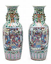 Pair of Chinese porcelain vases, late 19th Century 64 cm high