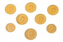 Eight Russian gold coins Two 10-rouble coins, 1899, Tsar Nicholas II. Four 7½-rouble coins, 1897, Tsar Nicholas II. Two 5-rouble coins,