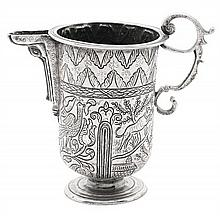 Peruvian silver spouted jug, second half of the 17th Century 46 gr  16 cm high