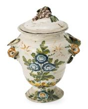 Ceramic jar with lid, probably Italian from Liguria, 18th Century Restored breakages  27 cm high