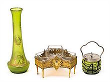 An Austrian vase and French centre and sugar bowl in polychromed glass and gold-plated bronze, from the first third of the 20th Century