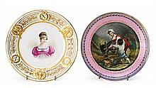 Two French dishes in Sèvres type Paris porcelain, from the 19th Century  In the middle, the portrait of Josephine Bonaparte and a count