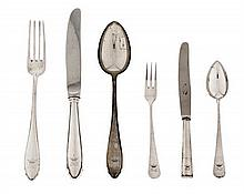 A Barcelona silver cutlery of six services, from the mid 20th Century  6 models for each guest (12 dessert forks, 12 dessert spoons and