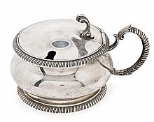 A silver Bulgari sugar bowl, from the mid 20th Century  Interior with a crystal bowl. 44 gr. (silver weight). Without spoon  10 cm high