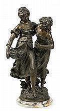 A partir de Auguste Moreau Dijon 1834 - Malesherbes 1917 Jóvenes Escultura en calamina con base en mármol