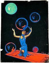 Emili Vilà 1887-1967 Publicidad, 1921 Gouache, 62 x 48 cm más fotografía, gelatina de plata 12 x 9 cm, tiraje de época